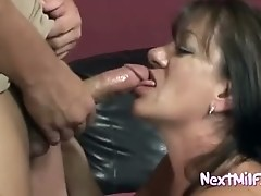 Hairy mature cunt fucks young cock